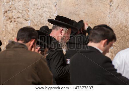 Many Of Orthodox Jewish People Near  The Western Wall .jerusalem. Israel