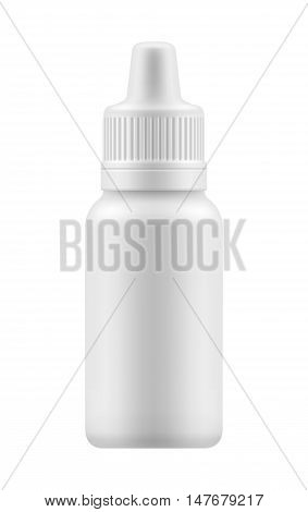 Nasal or eye spray for nose or eye health. Realistic white plastic container for fluid. Mockup bottle with medical drug for nose or eye . Pharmacy blank packing medication vector illustration