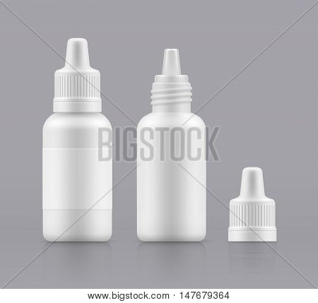 Vector nasal spray. Eye drops. Open and closed white plastic bottles. Container with medical drug for nose. Blank packing - vector isolated illustration
