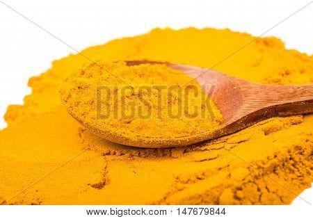 Saffron spice powder on a white background