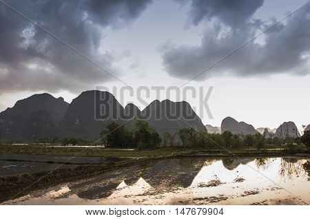 Karst mountains and rural scenery in spring, Guilin, China