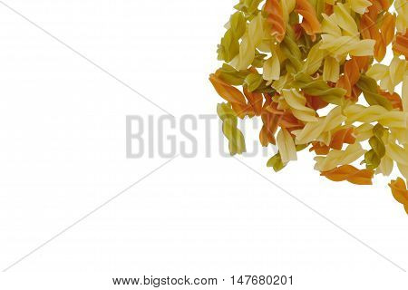 Multicolor Spiral Pasta On The White Background