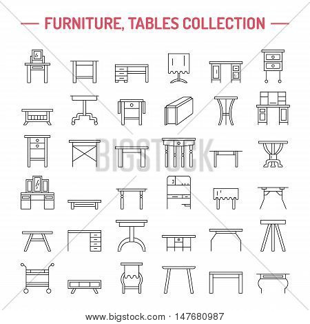 Vector furniture line icons table symbols. silhouette of different table - dinner writing dressing table. Linear desk pictograms with editable stroke for furniture store platen storage.
