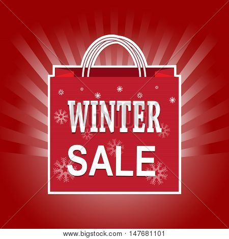Shopping paper bag with winter sale tag icon on sunburst background