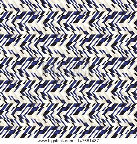 Vector geometric seamless chevron pattern with zigzag line and crossing stripes in vintage blue color. Striped bold print in hipster style for winter fall fashion. Abstract monochrome tech background