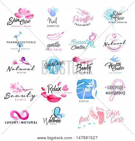 Set of hand drawn watercolor signs for beauty, healthy life and wellness. Vector illustrations for graphic and web design, for cosmetics, natural products, spa, beauty center.