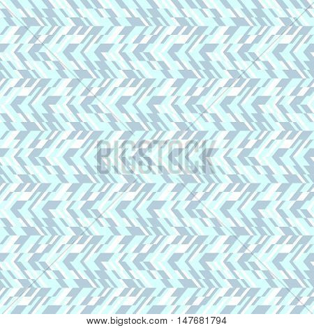Vector geometric seamless pattern with lines and zigzags in blue colors. Modern abstract chevron print in retro style for summer spring fashion. Abstract techno chevron background with colorful blocks