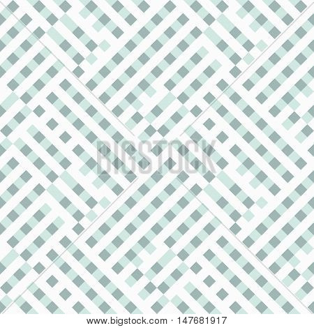 Abstract plaid geometric pattern with checks, diagonal overlapping stripes and crossing lines in mint green color. Op art seamless geometric background. Simple bold print for summer spring fashion