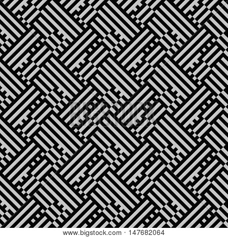 Striped maze vector pattern in black and white. Seamless geometric texture with meander motifs and stripes. Op art background. Geometric simple print with lines and stripes in art deco style.