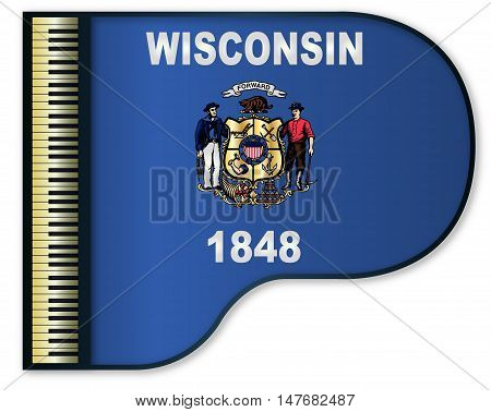 The Wisconsin state flag set into a traditional black grand piano