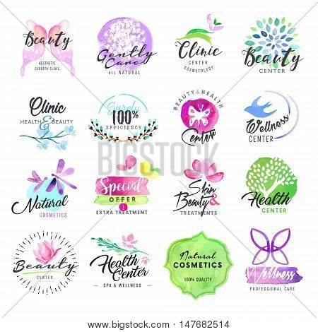 Hand drawn watercolor labels for beauty and cosmetics. Vector illustrations for graphic and web design, for cosmetic products, natural products, skin care, makeup, beauty center, spa and wellness.
