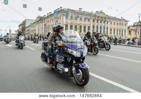 St. Petersburg, Russia - August 12, 2016: Motorcyclists passing along Nevsky Prospekt,12 August, 2016. The annual International Festival of Motor Harley Davidson in St. Petersburg Ostrovsky Square.