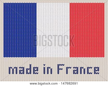 French flag knitted pattern made in France. Modern vector ornament wool knitted texture banner of France. Flat knitted standard design element for sites. Hand made flag.