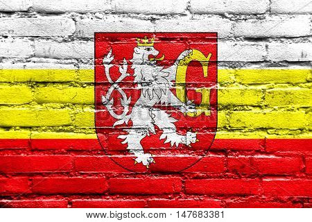 Flag Of Hradec Kralove With Coat Of Arms, Czechia, Painted On Brick Wall