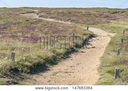 coastal scenery including a footpath around Pointe du Van a promontory in Brittany France
