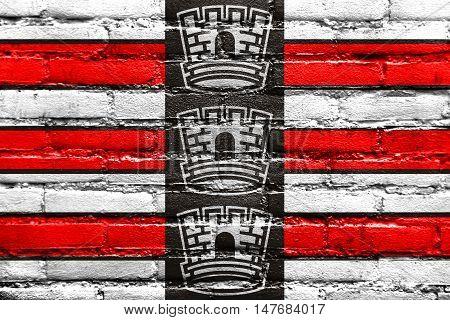 Flag Of Joao Pessoa, Paraiba, Brazil, Painted On Brick Wall