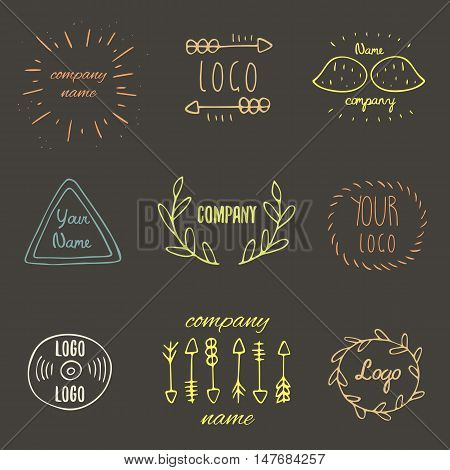 Trendy hand drawn doodle hipster logotypes collection with arrows leaves