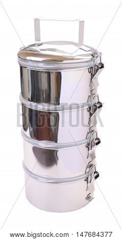 Side face metal tiffin carrier on white background.