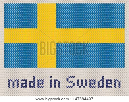 Swedish flag knitted pattern made in Sweden. Modern vector ornament wool knitted texture banner of Sweden. Flat knitted standard design element for sites. Hand made flag.
