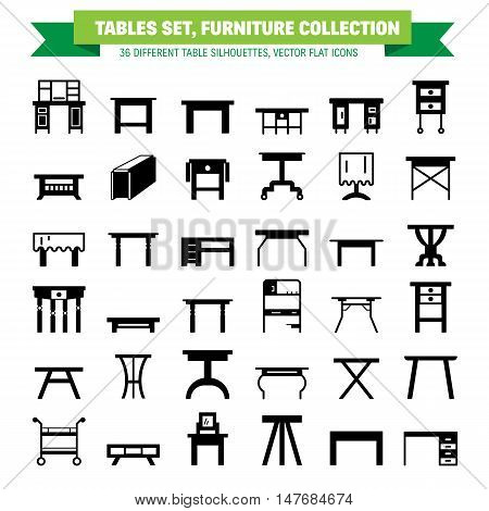 Vector furniture flat icons table symbols. silhouette of different table - dinner writing dressing table. Desk pictograms silhouette for furniture store platen storage.