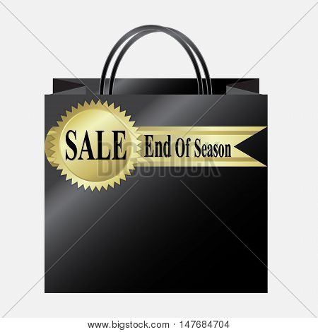 Shopping paper bag with End of Season Sale label vector illustration