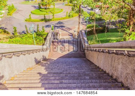 Stair leading to ground level from view point Phuket Thailand