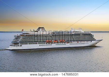 St. Petersburg, Russia - May 19, 2016: Viking cruise ship Viking Star sails from port.