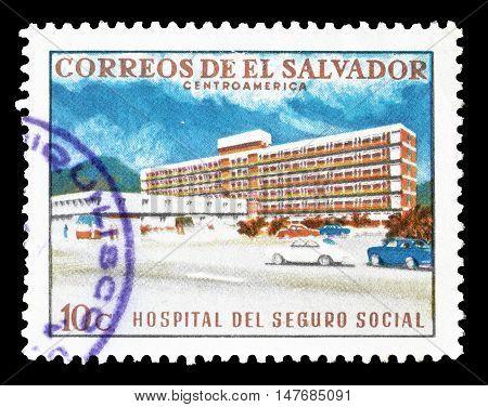 EL SALVADOR - CIRCA 1969 : Cancelled postage stamp printed by El Salvador, that shows Hospital.