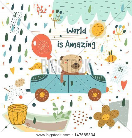Cute hand drawn card postcard with bear car balloon rain drops bee honey barrel flag cloud flowers hearts polka dots abstract elements