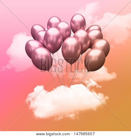Escape conceptual-3d Bunch of balloons holding cloud into the sky background