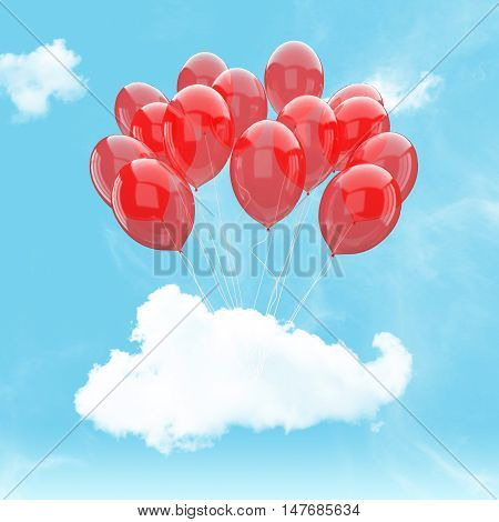 Escape conceptual- 3d red balloon holding cloud into the sky background