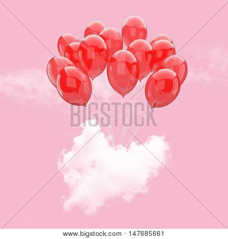 Escape conceptual- 3d red balloon holding heart beat cloud into the sky background