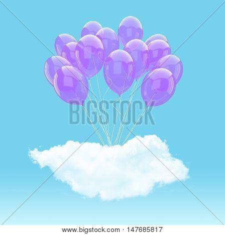 Escape conceptual- 3d Purple balloon holding cloud into the sky background