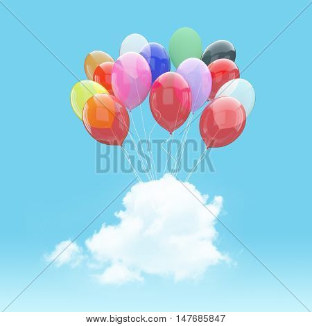 Escape conceptual- 3d bunch of colorful balloon holding cloud into the sky background