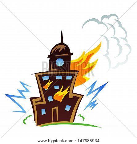 Burning building graphic design, illustration of fire