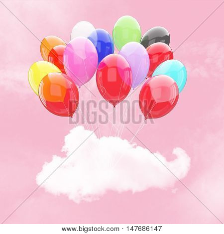 Escape conceptual- 3d bunch of colorful balloon holding cloud into the pink sky background