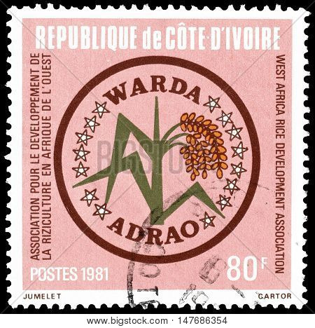 IVORY COAST - CIRCA 1981 : Cancelled postage stamp printed by Ivory Coast, that promotes West African Rice Development Association.