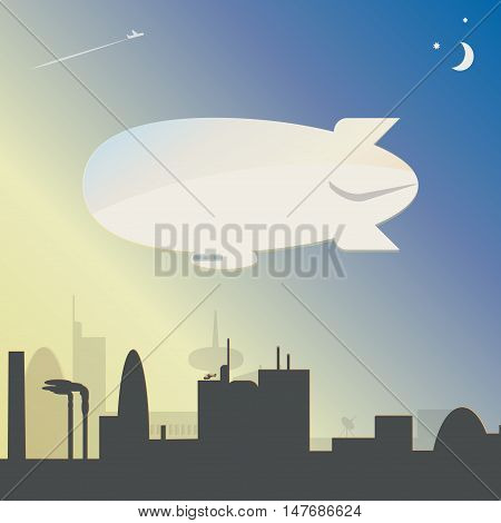 The airship over the city at night. Vector illustration.