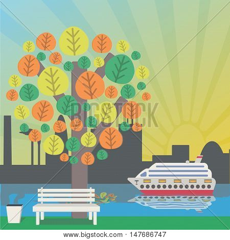 Autumn tree, bench to the trash and ship. Autumn in the city. Vector illustration.