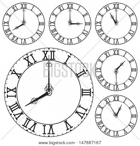 Clock dial with roman numerals. Vector illustration isolated on white background