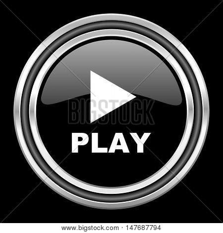 play silver chrome metallic round web icon on black background