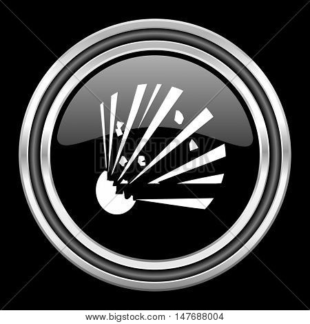 bomb silver chrome metallic round web icon on black background