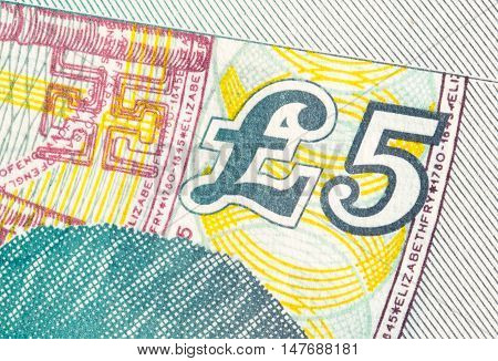 Pound Currency Background - 5 Pounds