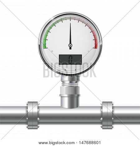 Manometer on pipe. Vector illustration isolated on white background