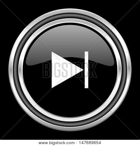 next silver chrome metallic round web icon on black background