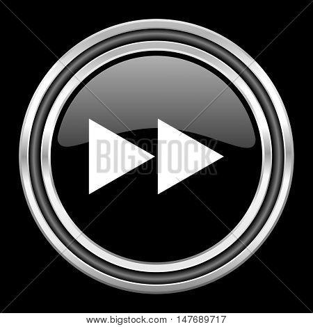 rewind silver chrome metallic round web icon on black background