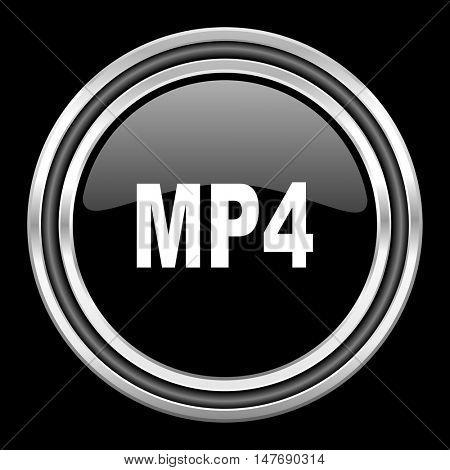 mp4 silver chrome metallic round web icon on black background