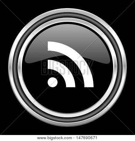 rss silver chrome metallic round web icon on black background