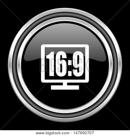 16 9 display silver chrome metallic round web icon on black background
