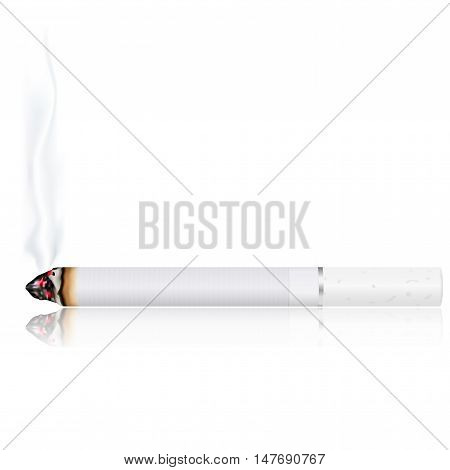 Burning cigarette. Vector illustration isolated on white background